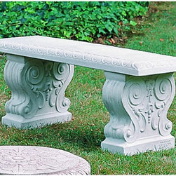 Campania International - Campania International Traditional Straight Cast Stone Backless Garden Bench - B - Shop for Benches from Hayneedle.com! About Campania InternationalEstablished in 1984 Campania International's reputation has been built on quality original products and service. Originally selling terra cotta planters Campania soon began to research and develop the design and manufacture of cast stone garden planters and ornaments. Campania is also an importer and wholesaler of garden products including polyethylene terra cotta glazed pottery cast iron and fiberglass planters as well as classic garden structures fountains and cast resin statuary.Campania Cast Stone: The ProcessThe creation of Campania's cast stone pieces begins and ends by hand. From the creation of an original design making of a mold pouring the cast stone application of the patina to the final packing of an order the process is both technical and artistic. As many as 30 pairs of hands are involved in the creation of each Campania piece in a labor intensive 15 step process.The process begins either with the creation of an original copyrighted design by Campania's artisans or an antique original. Antique originals will often require some restoration work which is also done in-house by expert craftsmen. Campania's mold making department will then begin a multi-step process to create a production mold which will properly replicate the detail and texture of the original piece. Depending on its size and complexity a mold can take as long as three months to complete. Campania creates in excess of 700 molds per year.After a mold is completed it is moved to the production area where a team individually hand pours the liquid cast stone mixture into the mold and employs special techniques to remove air bubbles. Campania carefully monitors the PSI of every piece. PSI (pounds per square inch) measures the strength of every piece to ensure durability. The PSI of Campania pieces is currently engineered at 
