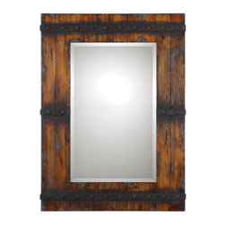 """Uttermost - Uttermost Stockley Rustic Mahogany Mirror 13804 - Rustic styling with antiqued mahogany finish, heavily burnished details and charcoal gray distressing. Mirror has a generous 1 1/4"""" bevel. May be hung horizontal or vertical."""