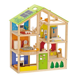 Furnished All Season Dollhouse - This multi-level, six-room dollhouse is open for easy access and modular. Kids can move the stairways and flip over the roof to match the seasons. Made of plywood and maple from sustainable forests, it is finished in safe, non-toxic, water-based color.