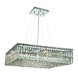 """PWG Lighting / Lighting By Pecaso - Chantal 12-Light 32"""" Crystal Chandelier 1728D32C-SS - The unique design of the Chantal Collection inspires any room setting. Dazzling spectacles of light sparkles throughout the fixture creating a modern, yet timeless beauty and elegance."""