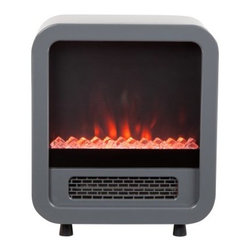 Fire Sense Skyline Silver Electric Stove - Our compact Skyline Electric Stove provides a modern stove look to any room. This stylish unit utilizes an efficient LED lighting system to produce a realistic flame along with a clear fire glass look. A fully functional two heat setting 1500 watt heater provides excellent warmth in small rooms. The Skylines compact design makes it fit in nearly any room