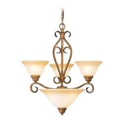 Livex Bistro 8285-57 Chandelier - Venetian Patina - 24W in. - If you're looking to add upscale charm and traditional aesthetics to your foyer, living space, or dining area, you'll not go wrong with the Livex Bistro 8285-57 Chandelier - Venetian Patina - 24W in. Accented with elegant scrolls, this handsome chandelier reinvents classic design elements to create a piece of lighting that will work its magic equally well in both formal and casual settings. Beautiful art glass shades play up the warm Venetian patina finish, creating a fixture that will stand the test of time. Three 100-watt medium base bulbs, along with two 60-watt medium base bulbs in the bottom shade (not included), offer warm, ambient light that's functional at the same time. This 24-inch fixture comes with 36 inches of chain and 120 inches of wire for installation.About Livex LightingLivex Lighting is a manufacturer and distributor of decorative residential lighting. The company was founded in 1993 and is now headquartered in a 150,000-square-foot facility in Morristown, New Jersey. Livex Lighting currently offers over 2,500 products ranging from lighting fixtures for indoor and outdoor applications to lampshades, chandelier shades, ceiling medallions, and accent furniture. The goal of Livex Lighting is to provide the highest-quality product at the most affordable price. We are constantly responding to the ever-changing needs, styles, and fashions of the lighting industry while always maintaining the highest standards of quality.