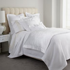 """SFERRA - SFERRA King Scroll-Pattern Duvet Cover, 106"""" x 92"""" - Both simple and breathtaking, Sferra's """"White Jacquard"""" bed linens showcase a traditional jacquard-woven scroll pattern on sateen duvet covers and shams, all finished with hemstitch detail. Duvet covers are backed with solid 300-thread-count sateen. ...."""