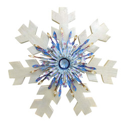 Souvenir Farm, Ltd. - Rustic Wood & Metal Outdoor Snowflake-Rustic Christmas Decor - Colorful detail and a sparkly finish makes this large barn wood snowflake an extra-special addition to your rustic outdoor Christmas or Winter Season decorating.