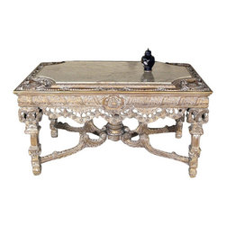 MBW Furniture - Consigned Antiqued Finish French Table w/ Marbletop - This product is finely constructed from top grade solid wood. Artisans use the old world method of tongue and groove and mortise and tenon joinery to create this beautiful and durable piece of furniture. Its superb hand-crafted quality will add a touch of elegance to your home.