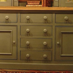 British Traditions - Large Country Sideboard w 6 Drawers & 2 Large Cabinets (Taupe) - Finish: Taupe. Each finish is hand painted and actual finish color may differ from those show for this product. Large country sideboard. 2 Large cabinets. 6 Drawers. Cabinets size: 20.5 in. W x 17 in. D x 20.5 in. H interior. Drawers size: 18.25 in. W x 15 in. D x 5.75 in. H. 73 in. W x 19 in. D x 36 in. H (275 lbs.)The Dublin Sideboard has ample storage space to double as a chest of drawers.