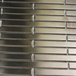 Sample - Metal Rose Stainless Steel 3/8x4 Stick Brick Tiles Sample - sample-METAL ROSE STAINLESS STEEL 3/8X4 STICK BRICK TILES SAMPLE  SAMPLE   Samples are intended for color comparison purposes, not installation purposes.-Glass Tiles -