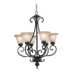 Kenroy Home - Kenroy 10196ORB Oliver 6 Light Chandelier - Oliver displays scrolls and curves reminiscent of antique ironwork. Twists in Oliver's forged metal arms evoke a sense of old world charm.  Amber Scavo glass adds the perfect complement to Oliver's Oil Rubbed Bronze finish.