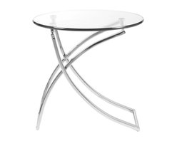 Eurostyle - Talisa Side Table-Clear/Chrome - Drinks look like they're floating on air when you set them on this graceful side table. The modern glass top and elegantly bent chrome base will add a stunning accent to your living room.