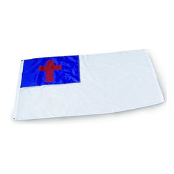 Christian Outdoor Flag 3x5 Nylon - Outdoor Religious Flag The 3' x 5' Christian flag is made from 200 denier nylon. This nylon is made specifically for outdoor flags, and is much tougher than a printed nylon or polyester flag. The Christian cross is appliqued in the upper left hand corner of the flag.