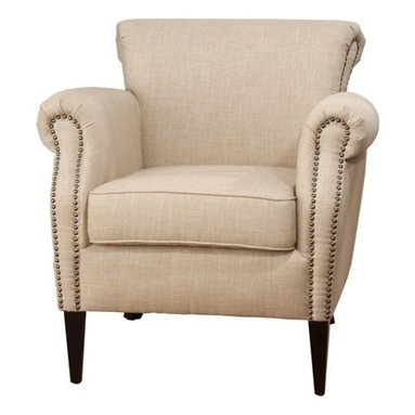 """Jofran - Jofran EMMA-CH-WHEAT Club Chair in Dum Dum Wheat with Antique Brass Nailheads - The Wheat Emma upholstered club chair will add exceptional comfort and style to your home. This chair features high density, reversible comfort cushion seating and Pirelli style web seating. The Wheat """"linen look"""" fabric with antique brass nail heads creates a fresh and clean color scheme that works well with traditional and cottage styles. Complete with rolled arms and cylinder legs, the elegant linen look upholstery will add a classic touch to any room. (This chair is also available in Charcoal upholstery with a warm grey color palette)."""