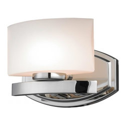 One Light Chrome Matte Opal Glass Bathroom Sconce - This single vanity light, finished in chrome and square matte opal glass, brings a contemporary feel.
