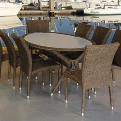 "Lamps Plus - Contemporary Atlantic Bari 9-Piece Gray and Beige Outdoor Dining Set - Atlantic Bari 9-Piece Gray and Beige Outdoor Dining Set. Gray and beige wicker finish.  Atlantic collection. Aluminum and Synthetic Wicker frame. 9 individual pieces. Great functionality. Some assembly required. 1 year warranty. Includes 8 stacking armchairs and 1 table. Table with tempered glass top dimension is 36"" wide 36"" deep 28 1/2"" high. Stacking chairs dimension is 26"" wide 19"" deep 35 1/2"" high.  Gray and beige wicker finish.  Aluminum and Synthetic Wicker frame.  Atlantic collection.  9 individual pieces.  Great functionality.  Some assembly required.  1 year warranty.  Includes 8 stacking armchairs and 1 table.  Table with tempered glass top dimension is 36"" wide 36"" deep 28 1/2"" high.  Stacking chairs dimension is 26"" wide 19"" deep 35 1/2"" high."