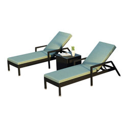 Forever Patio - Urbana 3 Piece Wicker Chaise Lounge Set, Spa Cushions - The Harmonia Living Urbana 3 Piece Rattan Patio Chaise Lounge Set with Turquoise Sunbrella cushions (SKU HL-URBNWS-3RCLS-SP) brings comfort and style to your outdoor space. Each chaise is constructed with durable, thick-gauged aluminum frames which are protected by a powder coating for superior corrosion resistance. The wicker is made of High-Density Polyethylene (HDPE) with its Coffee Bean color and UV resistance infused into the strands themselves. This creates a rich wicker color that holds up incredibly well with age.Thick, comfy cushions are covered in Canvas Spa fabric by Sunbrella, the industry leader in mildew- and fade-resistant outdoor fabric. This chaise adheres to the highest quality standards for modern patio furniture in the market today, meaning it will last for years to come.