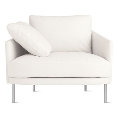 """Camber Armchair in Leather, Stainless Legs - We're very excited to bring you the latest sofa collection from Bernett and Dodziuk, two designers we've worked with since DWR was founded. Hand-built by a California-based manufacturer that's been making comfortable sofas and chairs for more than 50 years, the Camber Sofa Collection (2013) satisfies the designers' goal to find """"the best size and scale for products to maximize living, while refraining from dominating a room,"""" explains Bernett. The result is extreme comfort within slender proportions. Covers are removable for cleaning. Legs ship unattached; simple assembly required. Made in U.S.A."""