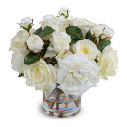 """New Growth Designs - Rose Bouquet - Lifelike white Roses of assorted types and sizes are arranged in a hand-assembled bouquet and placed into a 6"""" clear glass cylinder vase, approximately 14"""" diameter and 12"""" high."""