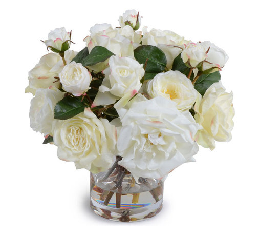 "New Growth Designs - Rose Bouquet - Lifelike white Roses of assorted types and sizes are arranged in a hand-assembled bouquet and placed into a 6"" clear glass cylinder vase, approximately 14"" diameter and 12"" high."
