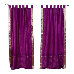 Indian Selections - Pair of Violet Red Tab Top Sheer Sari Curtains, 43 X 63 In. - Size of each curtain: 43 Inches wide X 63 Inches drop.