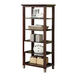 Adarn Inc - Modern Functional Five Shelves Wood Open Media Storage Display Shelf Silver Legs - A lovely rich walnut finish structure built in a contemporary fashion featuring five open shelves for your display selection. Accented with short silver legs, this media storage unit is the ultimate piece for style and functionality.