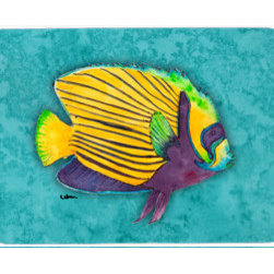 Caroline's Treasures - Fish Tropical Kitchen Or Bath Mat 24X36 - Kitchen / Bath Mat 24x36 - 24 inches by 36 inches. Permanently dyed and fade resistant. Great for the Kitchen, Bath, outside the hot tub or just in the door from the swimming pool.    Use a garden hose or power washer to chase the dirt off of the mat.  Do not scrub with a brush.  Use the Vacuum on floor setting.  Made in the USA.  Clean stain with a cleaner that does not produce suds.