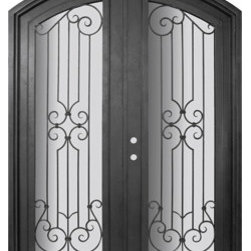 "Milano 72x96 Arch Top Wrought Iron Double Door 14 Gauge Steel - ""SKU#    PHBFMATDR4Brand    GlassCraftDoor Type    ExteriorManufacturer Collection    Buffalo Forge Steel DoorsDoor Model    MilanoDoor Material    SteelWoodgrain    Veneer    Price    8665Door Size Options      $Core Type    one-piece roll-formed 14 gauge steel doors are foam filled  Door Style    Arch TopDoor Lite Style    Arch Lite , Full LiteDoor Panel Style    Home Style Matching    Mediterranean , Victorian , Bay and Gable , Plantation , Cape Cod , Gulf Coast , ColonialDoor Construction    Prehanging Options    PrehungPrehung Configuration    Double DoorDoor Thickness (Inches)    1.5Glass Thickness (Inches)    Glass Type    Double GlazedGlass Caming    Glass Features    Insulated , TemperedGlass Style    Glass Texture    Clear , Glue Chip , RainGlass Obscurity    Door Features    Door Approvals    Wind-load RatedDoor Finishes    Three coat painting process"