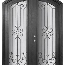 """Milano 72x96 Arch Top Wrought Iron Double Door 14 Gauge Steel - """"SKU#PHBFMATDR4BrandGlassCraftDoor TypeExteriorManufacturer CollectionBuffalo Forge Steel DoorsDoor ModelMilanoDoor MaterialSteelWoodgrainVeneerPrice8665Door Size Options  $Core Typeone-piece roll-formed 14 gauge steel doors are foam filled  Door StyleArch TopDoor Lite StyleArch Lite , Full LiteDoor Panel StyleHome Style MatchingMediterranean , Victorian , Bay and Gable , Plantation , Cape Cod , Gulf Coast , ColonialDoor ConstructionPrehanging OptionsPrehungPrehung ConfigurationDouble DoorDoor Thickness (Inches)1.5Glass Thickness (Inches)Glass TypeDouble GlazedGlass CamingGlass FeaturesInsulated , TemperedGlass StyleGlass TextureClear , Glue Chip , RainGlass ObscurityDoor FeaturesDoor ApprovalsWind-load RatedDoor FinishesThree coat painting process"""