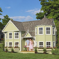 Little Cottage Sara Victorian 10 x 18 Mansion Wood Playhouse - The Little Cottage Sara Victorian 10x18 Wood Mansion Playhouse brings extraordinary Victorian detail to life ... in a spacious playhouse your child will adore. Packed with charming extras like gingerbread trim, a turret, and real working windows, this high-quality playhouse features everything your child needs for hours of imaginative play. What's more, it's beautifully designed so you won't mind adding it to your backyard! This playhouse arrives in a ready-to-assemble kit, with most required elements included. You supply the following: Roof shingles Dripedge (roof edging) Paint (in the colors of your choice!) 2 pressure-treated 4 x 4 x 18 pieces of wood 1 pressure-treated 4 x 4 x 16 piece of wood Everything else that's required to build the playhouse, right down to hinges and nails, comes included, along with a link to a downloadable full-color manual of simple-to-follow instructions. This playhouse measures approximately 18W x 10D x 10H feet (height measured from the tip of the roof). Features: 2x3 wood wall framing 2x4 wood trusses Siding and gingerbread trim pre-fastened to wall panels Pre-cut, panelized wall sections for quick assembly 17 working windows with Plexiglass, grids, and screens (14 x 21 inches each) Child Dutch door on front (20W x 40H inches) Adult door in back (4W x 6H feet) 8 flowerboxes Loft with ladder on turret side High-quality composite exterior corner trim All assembly hardware This playhouse is constructed using LP Smart Side, an environmentally sound wood that's known for durability. LP Smart Side offers low pollution production, and is highly renewable. It's also treated with care using a SmartGuard finish, which uses zinc borates to resist rot and mold while minimizing chemical use and pollutant output. Because LP Smart Side is so strong and safe, the playhouse pieces are covered by a 50-year limited warranty from LP. About The Little Cottage CompanyNestled in the heart of Ohio's Amish country, The Little Cottage Company resides in a quaint, slow-paced setting where old-fashioned craftsmanship and attention to detail have never gone out of style. Our experienced carpenters and skilled designers take great pride in creating top-quality, pre-built models and Do-It-Yourself kits of playhouses, storage sheds, and more.