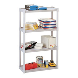 Iceberg - Rough n Ready Open Storage, Platinum - Includes shelves, uprights and trim caps. For lighter duty applications. Each shelf holds 75 lbs.. Evenly distributed shelves. Made from durable injection molded polypropylene. Minimal assembly required. 32 in. W x 13 in. D x 54 in. H (18 lbs.)Perfect for storing office supplies, files, books and binders. Constructed of durable injection molded polypropylene. Heavy duty uprights for increased stability. Won't scratch or dent. Easy snap together assembly.