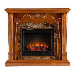 SEI - Cardona Electric Fireplace - Walnut - A beautiful walnut finish, Victorian-esque design, and faux marble combine to create this timeless design; add the beauty and romance of a glowing fire and you have a versatile electric fireplace that will complement any room in your home. To top it off, this fireplace requires no electrician or contractor for installation, allowing for instant remodeling without the usual mess or expenses. This walnut fireplace features traditional, pilaster wood corbels, an intricate center medallion, and luxurious faux marble. The hand-carved details and exquisite elements of the design make it a beautiful focal point to build a room upon. The electric insert features realistic flickering flames and glowing embers - brightness of each can be adjusted with a simple push of a button. In addition to adjusting the thermostat, the electric fireplace also offers the option of using with or without heat for year-round enjoyment. Convenience and ease of assembly are just two of the reasons why this fireplace is perfect for your home. The ornate, elegant style of this fireplace works well in traditional and transitional homes. This handsome fireplace is great for the living room and bedroom, and even adds a warm, romantic touch to the dining room or home office. Let this portable fireplace give your home a more welcoming and enjoyable atmosphere.