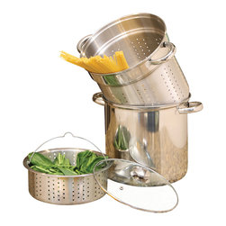 Cookpro - Stainless Steel Pasta Cooker 12qt 4pc Encapsulated Base - 12qt professional 18/10 stainless steel 4 pc multi cooker with cooker pot, steamer basket, pasta basket and vented glass lid. Encapsulated base provides faster and even heat distribution.