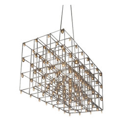 """Quasar - Quasar Universe Square Suspension Lamp - The Universe Square Suspension Lamp has been designed by Jan Pauwels for Quasar. This fixture is composed of nickel. Available in one finish options nickel. Illumination is provided by 128 X 1,2W / 0,3W 12V E10 LED 2600-2700K Halogen Bulb (not included).  Product Details:    The Universe Square Suspension Lamp has been designed by Jan Pauwels for Quasar. This fixture is composed of nickel. Available in one finish options nickel. Illumination is provided by 128 X 1,2W / 0,3W 12V E10 LED 2600-2700K Halogen Bulb (not included).  Details:                         Manufacturer:             Quasar                            Designer:                        Jan Pauwels                                         Made in:                        Netherlands                                         Dimensions:                         Height: 14.7"""" (37.5 cm) X             Length: 34.3"""" (87.5 cm) X              Width: 15.9"""" (40.5 cm)                                         Light bulb:                         128 X 1,2W / 0,3W 12V E10 LED 2600-2700K                                         Material:             nickel"""