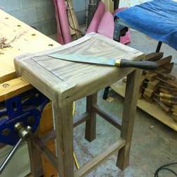 Saddle Seat Bar Stools - Walnut Bar Stool. Detail of shaping the seat rails