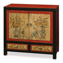 """China Furniture and Arts - Hand Painted Mongolian Cabinet - Exuberant and bold, the artwork on this cabinet displays the liveliness of Tibetan art. A definite conversation starter, the cheerful design represents the personality of Tibetan people who are passionate with life. The interior for the double door compartment measures  32""""W x 13.5""""D x 21""""H and contains removable shelving for your storage convenience. Two lower drawers each with an interior measuring 12.75""""W x 13.25""""D x 3.25""""H are present for additional storage. Completely hand constructed in Elmwood, it is a one-of-a-kind item and will last for generations."""
