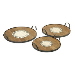 Home Decorators Collection - Benito Wood and Metal Trays - Set of 3 - The centers of our Benito Wood and Metal Trays feature the emblem of the Wine Growers Association of San Benito, offering a rustic look for your living room, dining room or home bar. These recycled wood trays are banded with metal and accented with tall metal handles. Recycled wood in aged brown finish. Metal bands with decorative rivets. Set of 3.