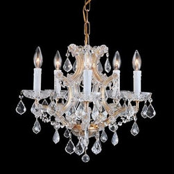 Crystorama Lighting Group - Traditional Crystal Maria Theresa Chandelier with Swarovski Strass Crystal - Traditional crystal chandeliers are classic timeless and elegant. Crystorama's opulent glass arm chandeliers are nothing short of spectacular. This collection is offered in a variety of crystal grades to fit any budget. For a touch of class order this collection in Gold for traditionalists or in Chrome to match your contemporary or transitional decor.  -Primary Material: Steel  -Crystal: Swarovski Strass  -Chain or Rod Length: 72inches  -Wire Length: 120inches Crystorama Lighting Group - 4405-GD-CL-S