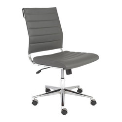 Euro Style - Low Back Office Chair in Gray - Includes hardware. Durable and easy-to-clean leatherette. Casters wont mark or scratch hardwood floors. Tilt mechanism locks in multiple position. Leatherette seat and back over foam. Chromed steel frame. Polished aluminum base. Locking tilt mechanism. Casters with stainless steel hoods. BIFMA approved. Warranty: One year. Assembly required. Seat: 19.5 in. W x 18.25 in. D x 18 in. to 21 in. H. Overall: 19.5 in. L x 24.5 in. W x 39 in. H