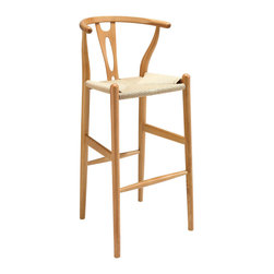 Amish Wood Bar Stool - Time flows effortlessly through the Amish wooden bar stool. The craftsmanship is evident throughout a piece that appears both petite and boldly courageous. While Amish conveys a transitional feel with its solid beechwood back and base, the result is an enduring design with a style that doesn't fade. Given the iconic form and staggered-level wooden support rods, Amish deftly develops the interplay between permanence and sequential movements forward. The seat is made of paper rope, a new twine that is eco-friendly, soft, anti-static and durable.