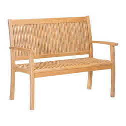 HiTeak Furniture - HiTeak Furniture Teak Buckingham Bench Multicolor - HLB562 - Shop for Benches from Hayneedle.com! The HiTeak Furniture Teak Buckingham Bench is a smart way to brighten any outdoor space with a natural wooden hue. Hand-crafted from natural aged teak wood this handsome bench makes a lively and stylish addition to any patio deck or garden. For ideal comfort this alfresco bench features straight armrests and a high upright back with a classic slatted design you could spend an entire summer day enjoying. Crafted with rugged mortise and tenon joinery and stainless steel hardware you can count on this bench to withstand generations of inclement elements for years of adorning your home.About HiTeak FurnitureWith over 20 years of serving customers worldwide HiTeak Furniture specializes in in high-quality upscale furniture for both indoor and outdoor markets. The California based company designs produces and exports top-end products while maintaining sustainable practices with plantation-grown teak wood and other hardwoods. HiTeak Furniture considers customer satisfaction a way of life and strives to remain innovative in an ever-changing market. Their success comes from direct relationships with manufacturers so the company can provide competitively priced and top-quality products to the everyday world.