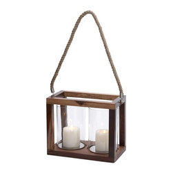 "Benzara - Two Hurricane Lights with Stainless Steel and Glass Construction - Two hurricane lights with stainless steel and glass construction. This lighting fixture flaunts a warm brown finish that ensures it can complement all decors with absolute ease. It comes with a dimension of 12"" W x 7"" D x 10"" H. Some assembly may be required."