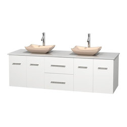 Wyndham Collection - 72 in. Double Bathroom Vanity in White, White Man-Made Stone Countertop, Avalon - Simplicity and elegance combine in the perfect lines of the Centra vanity by the Wyndham Collection . If cutting-edge contemporary design is your style then the Centra vanity is for you - modern, chic and built to last a lifetime. Available with green glass, pure white man-made stone, ivory marble or white carrera marble counters, with stunning vessel or undermount sink(s) and matching mirror(s). Featuring soft close door hinges, drawer glides, and meticulously finished with brushed chrome hardware. The attention to detail on this beautiful vanity is second to none.
