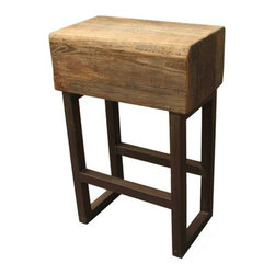 Eldridge Barstool in Natural - If you need a stylish barstool, look no further than this. The Eldridge Barstool combines soft-edged, distressed natural elm wood with sharp-angled, dark-finished metal legs for a modern industrial touch that plays well with many personal tastes.