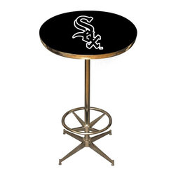 Imperial International - Chicago White Sox MLB Pub Table - Check out this awesome pub table. It's perfect for your Man Cave, Game Room, Home Bar, or anywhere you want to show love for your favorite team. It has a disco style steel base with leg levelers and foot ring.
