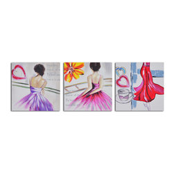 Love to dance Hand Painted 3 Piece Canvas Set - En pointe. Rendered in boldly beautiful acrylics on canvas, this trio of paintings offers a different view into the world of ballet. Perfect for your dance studio or to be enjoyed at home, each is a hand-painted original.