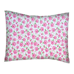 SheetWorld - SheetWorld Twin Pillow Case - Flannel Pillow Case - Pink Flowers - Made in USA - Twin pillow shams. Made of an all cotton flannel fabric. Fits a standard twin size pillow. Side Opening. Features pink flowers print.