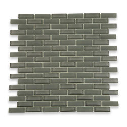 "Loft Ash Gray Brick Pattern - Loft Ash Gray 1/2"" x 2"" Brick Pattern Glass Tile Make your back splash the kitchen, bathroom, or decorated room focal point by using this striking brick tile. Add some color and style to your decor! This should give it a more distinct look. The color is painted on the back of the tile so it will not scratch or chip off. Chip Size: 1/2""x2"" Color: Gray Material: Glass Finish: Frosted and Polished Sold by the Sheet - each sheet measures 12"" x 12"" (1 sq. ft.) Thickness: 8mm Please note each lot will vary from the next."
