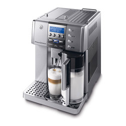 DeLonghi - Grand Dama, Espresso Machine w/3 in 1 Touch - Easy to use control panel with digital programmable menu settings|Patented single touch cappuccino, latte and Italian Macchiato|Professional quality lower-pitch conical burr grinder|Double efficient boiler|Instant reheat function; Decalcification system|Cup warmer; Hot water spout; Drip tray accommodates latte cup|Removable 1.8 liter (60 oz.) water tank; Height-adjustable coffee spouts|Coffee bean container capacity 241 gram / 8.5 oz.|Removable used coffee container and drip tray|1-3 hour adjustable automatic shut-off; Programmable timer on function|  delonghi| esam6620| esam 6620| gran dama digital super automatic espresso machine| espresso machine| automatic espresso| super automatic espresso mach  Package Contents: espresso machine|25 oz. milk container|detachable lids|manual|warranty  This item cannot be shipped to APO/FPO addresses