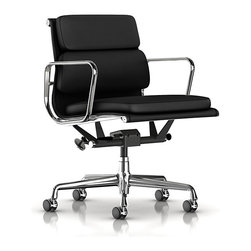 Herman Miller - Herman Miller Eames Soft Pad Management Chair | Smart Furniture - You won't mind getting the job done when you're sitting in this striking office chair. The slightly curved backrest and seating area cradles you, while supportive rests give your arms and hands a well-deserved break.