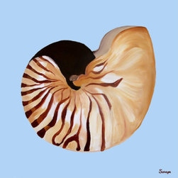 Nautilus Shell on Blue Outdoor Print - What a great print/painting to hang on a porch or outdoor area near a pool or beach house.  What a treat to have beautiful art nearby while enjoying the outdoors.