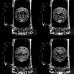 "Crystal Imagery, Inc. - Wildlife Beer Mugs, Deer, Ducks, Fish Engraved Glasses - Engraved Wildlife Beer Mug Set includes bear, deer, fish and duck and is a great gift idea for the man who loves hunting, fishing and the great outdoors. Deeply carved using our sand carving technique, each beer mug glass is meticulously custom made to order making it the perfect gift for those seeking unique gift ideas for beer lovers - men and women alike.  Seeking a gift for your mountain retreat, lodge or cabin? This wildlife set would be ideal. This beer mug set is also perfect for the man cave or basement bar. Our 5.75"" High, 3"" wide, 15 oz beer mug is dishwasher safe. Made in the USA."