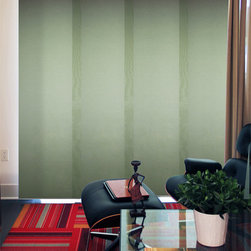 None - Cucumber Cordless 4 Panel System Alps Blinds - Chicology's Cordless Sliding Panels are able to fit almost every window in the house because they are adjustable in width and length. This cordless panel system, made of sheer fabric, can also be used as a room divider or a closet door.